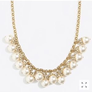 Stunning Pearl, Rhinestones & Gold Necklace J.Crew